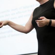 someone making a presentation - expressive hands