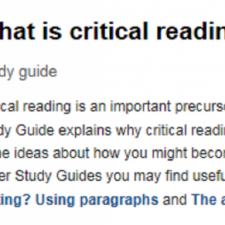 Image of What is critical reading webpage from University of Leicester
